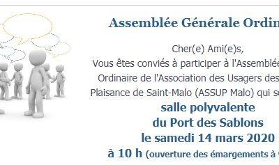 Assemblée Générale Ordinaire – Convocation – Samedi 14 mars 2020